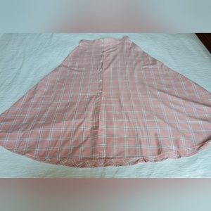 Lands End Pink and White Plaid A Line Skirt